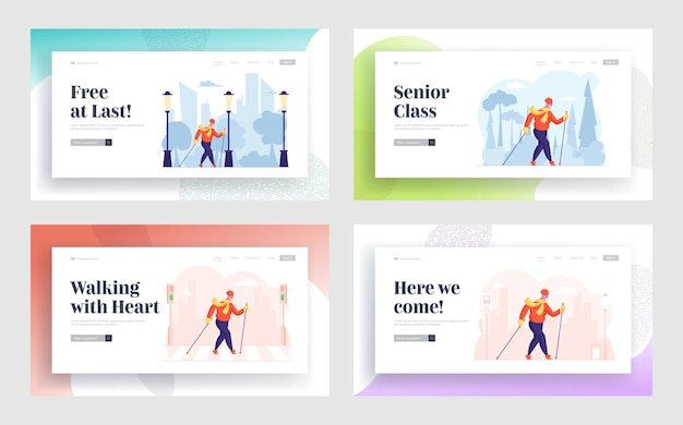 Weiblicher rentner gesunder lebensstil website landing page set