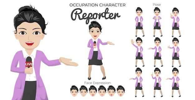 Weiblicher reporter-zeichensatz mit einer vielzahl von pose- und gesichtsausdrücken