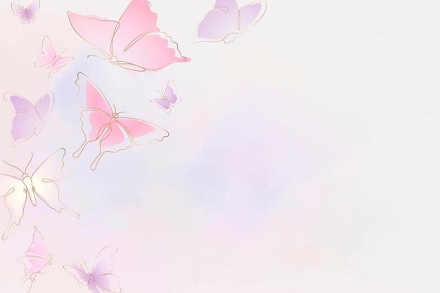 Weiblicher schmetterlingshintergrund, rosa rand, vektortierillustration