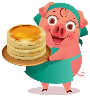 Weiblicher schweinkoch halten stapel pfannkuchen shrovetide