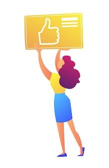 Weiblicher sozialer medienmanager, der daumen hoch symbolikvektorillustration hält.