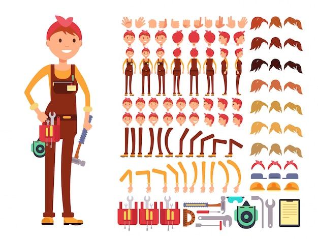 Weiblicher technikerkarikatur-vektorcharakter. frauenmechaniker im overallschaffungserbauer mit körper