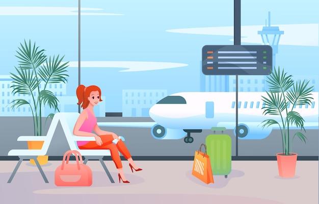 Weiblicher touristischer passagier, der im innenraum der terminallounge sitzt und auf abflugflugzeug wartet