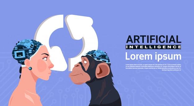 Weiblicher und affenkopf mit modernem cyborg-gehirn über dem aktualisieren des zeichens aroows künstliche intelligenz