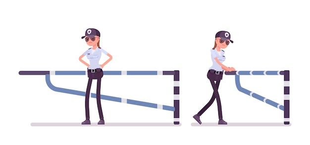 Weiblicher wachmann an der mechanischen barriere