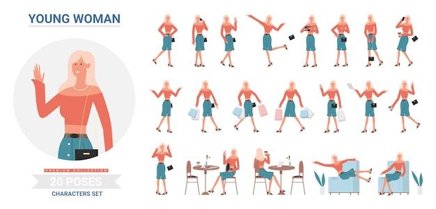 Weiblicher weiblicher freiberuflercharakter mit verschiedenen gesten stellt posen fest