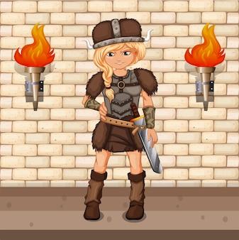 Weiblicher wikinger, der im schlossboden steht