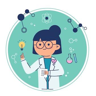 Weiblicher wissenschaftler, der eine ideenglühlampe hat