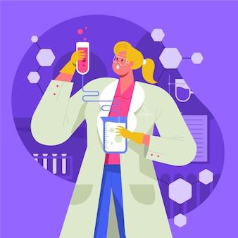 Weiblicher wissenschaftler, der einen trank zubereitet