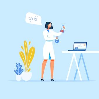 Weiblicher wissenschaftler, der medizin im labor vorbereitet
