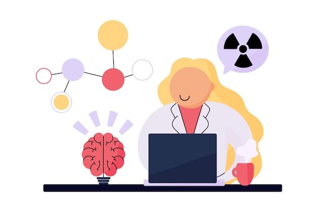 Weiblicher wissenschaftler, der mit radioaktiven chemikalien arbeitet