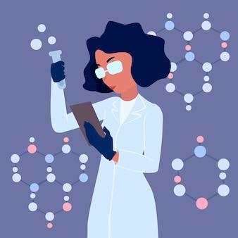Weiblicher wissenschaftler mit dem laborkittel, der trank hält