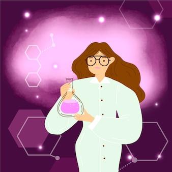 Weiblicher wissenschaftler mit trankillustration