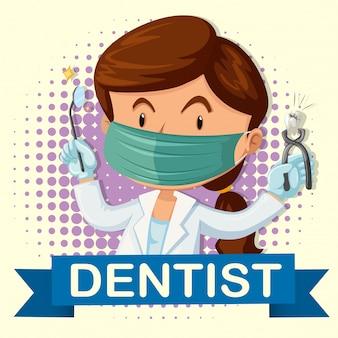 Weiblicher zahnarzt mit dem zahn und werkzeugen