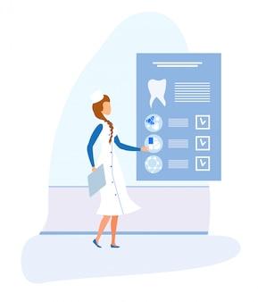 Weiblicher zahnarzt und zahnmedizinische elektronische medizinische karte