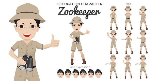 Weiblicher zookepeer-zeichensatz mit einer vielzahl von pose- und gesichtsausdrücken