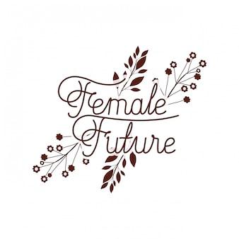 Weiblicher zukünftiger aufkleber mit blume lokalisierter ikone