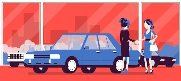 Weibliches autohaus verkauft ein neues fahrzeug an eine frau. frau, die auto im autoladen kauft, vereinbarung mit agenturmanager trifft, einem abkommen offiziell zustimmen.