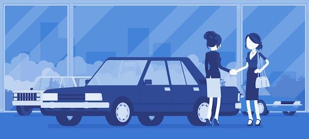 Weibliches autohaus verkauft ein neues rotes fahrzeug an eine frau. frau, die auto im autogeschäft kauft, vereinbarung mit agenturmanager trifft, einem abkommen offiziell zustimmen. vektorillustration, gesichtslose charaktere