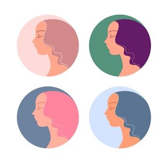 Weibliches avatar-profil mit trendigen farbigen frisuren-vektorsymbolen. schöne gesichter frauen mit lila gewelltem haar.