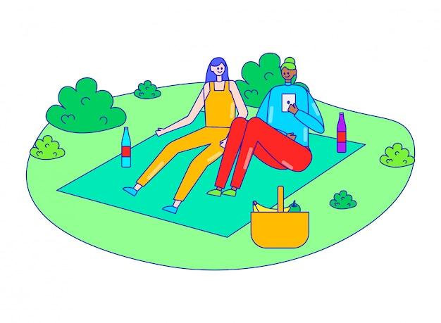 Weibliches begleiterpicknick auf gartenfeld im freien, frauenruhewaldpark auf weiß, linienillustration. person zusammen entspannen.