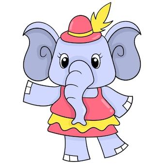 Weibliches elefantentier, das ein stilvolles schönes kleid, vektorillustrationskunst trägt. doodle symbolbild kawaii.