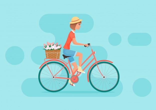 Weibliches fahrradfahren