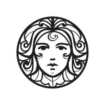 Weibliches gesicht-symbol