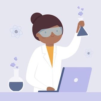 Weibliches illustrationsdesign des wissenschaftlers