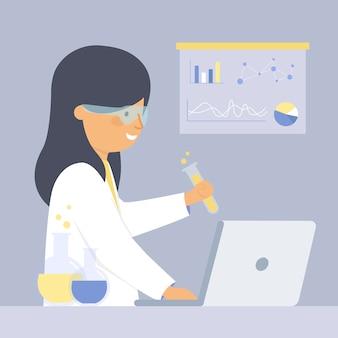 Weibliches illustrationskonzept des wissenschaftlers