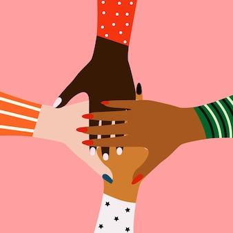 Weibliches konzept frauenhände verschiedener ethnien eps-vektor