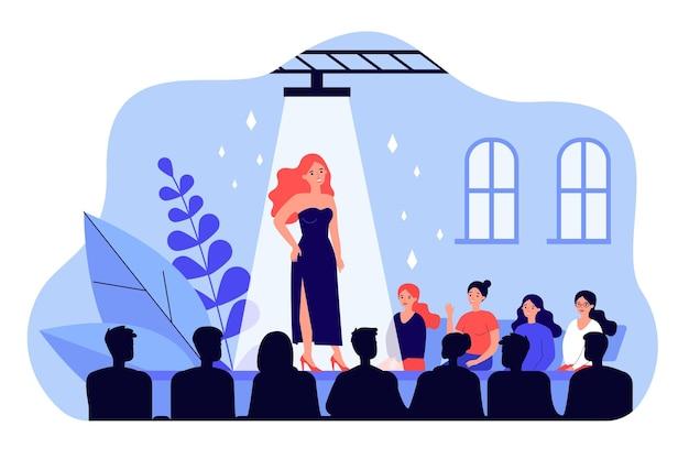 Weibliches laufstegmodell, das modische kleid flache illustration zeigt. glückliches publikum, das nahe bühne sitzt und show sieht. fashion runway ausstellung und unterhaltungskonzept