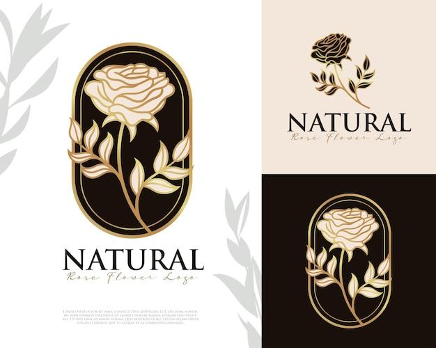 Weibliches logo mit natürlichen rosenblüten