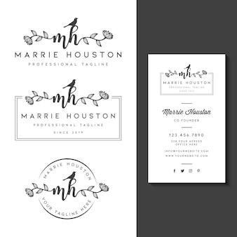 Weibliches logo mit visitenkartenvorlage