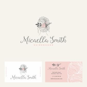 Weibliches logo, visitenkarte für schönheitssalon, friseursalon