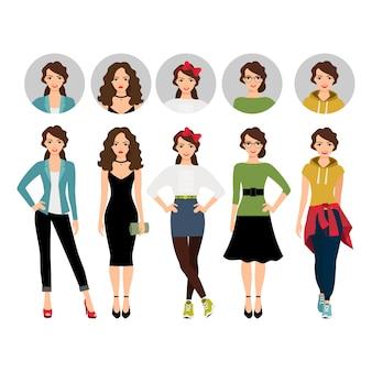 Weibliches modell in der unterschiedlichen artkleidung