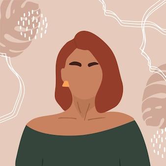 Weibliches porträt auf flachem design