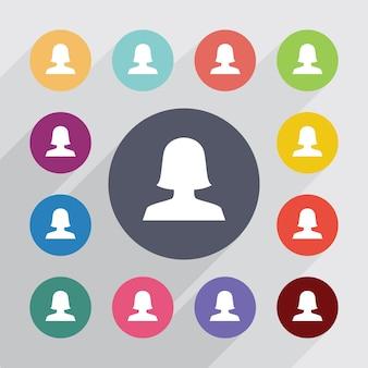 Weibliches profil, flache ikonen eingestellt. runde bunte knöpfe. vektor
