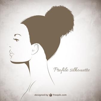 Weibliches profil silhouette