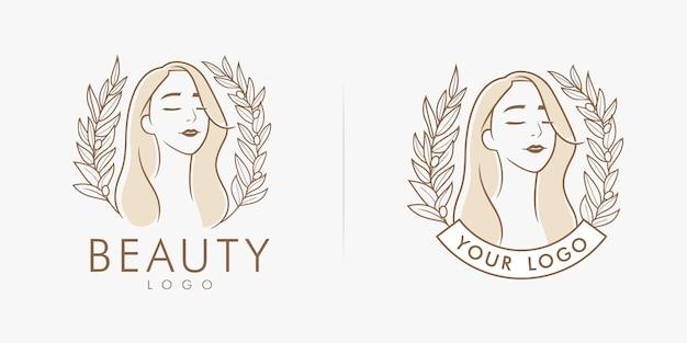 Weibliches salonlogo der schönheitsblume