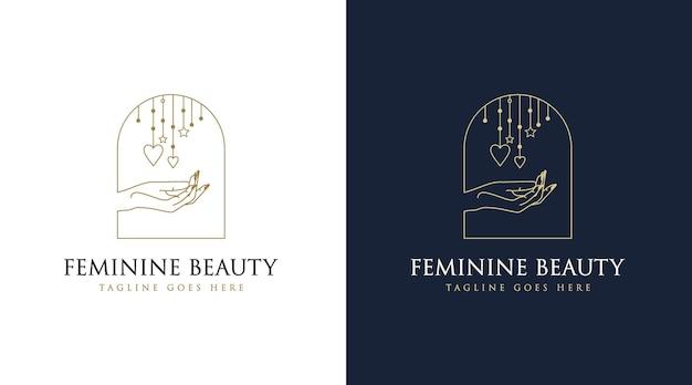 Weibliches schönheits-boho-logo mit frauenhandnagel-rosenblumenzweig-blattstern für make-up-salon-spa