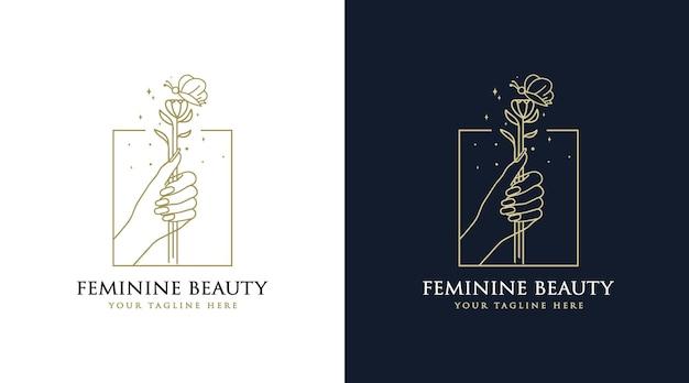 Weibliches schönheits-boho-logo mit frauenhandnagelblumenschmetterling und -stern für salon-spa-marke