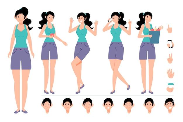 Weibliches schöpfungsset mit verschiedenen ansichten