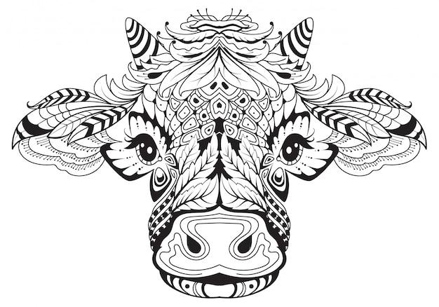 Weibliches symbol des kuhkopfes des 2021 stammestattoos. schwarzweiss-zeichnung vom abstrakten muster