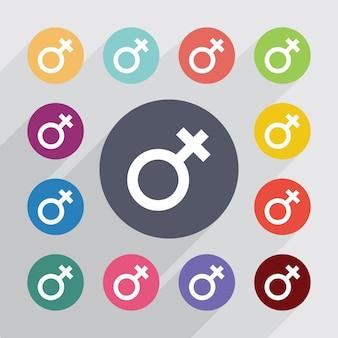 Weibliches symbol, flache ikonen eingestellt. runde bunte knöpfe. vektor