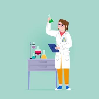 Weibliches wissenschaftlerillustrationsdesign
