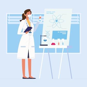 Weibliches wissenschaftlerillustrationskonzept