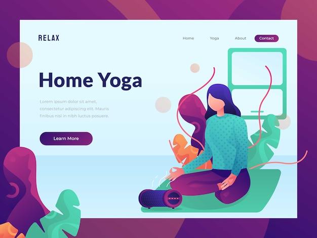 Weibliches yoga, das für webdesignlandeseiten-heldbild sich entspannt