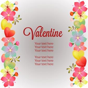 Weiche blumendekoration der vertikalen grenzschablone des valentinsgrußes