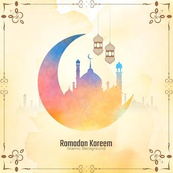 Weiche gelbe kulturelle ramadan kareem festivalkarte